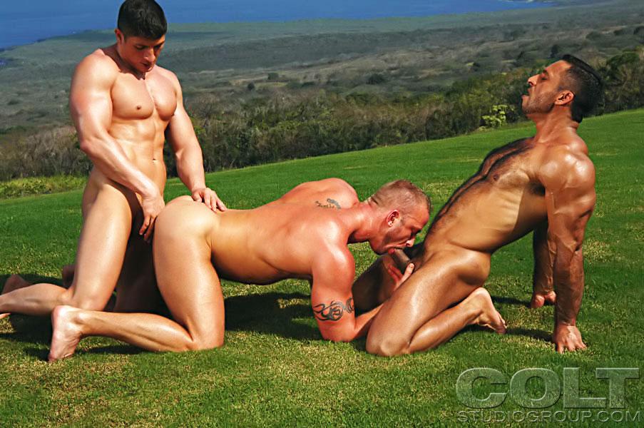 фото голых мускулистых геев втроем
