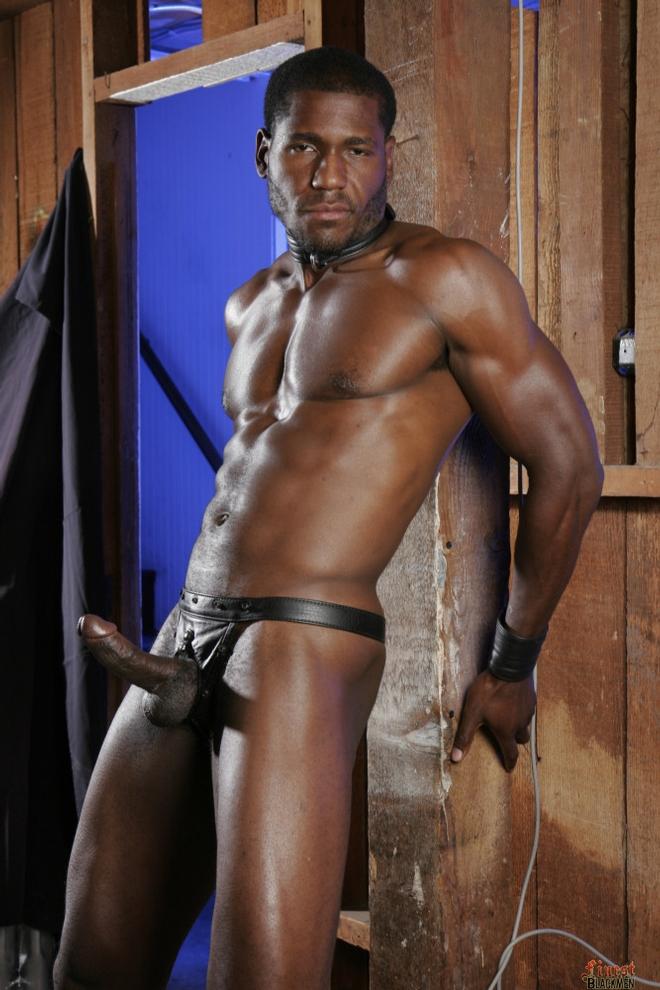 Black in leather man porn